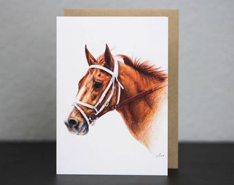 Chestnut Thoroughbred Racehorse Blank Greeting Card — Portrait