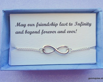 6 Infinity bracelet gifts, Friendship gift, Silver infinity bracelet, Infinity bracelet, Infinity jewelry, Bridesmaids gifts