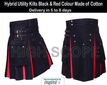 Hybrid Utility Kilts Black & Red Colour Made of Cotton Fastest delivery in 5 to 7 days