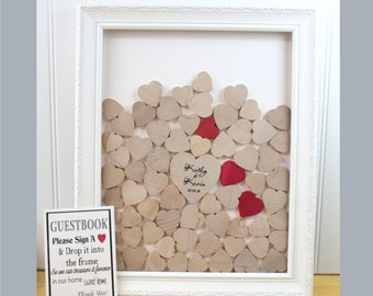 Drop Box Wedding guest book alternative - White Drop Top guestbook - drop box guest book - White Ornate Wood Frame