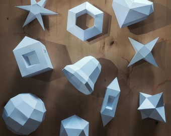 Make Your Own 10 Christmas Ornaments from Paper + Bonus 5 Crystals! PDF pattern, Polygon Shape DIY Christmas Papercraft