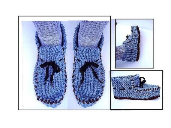 MEN\'S Knit Loafer Moccasin Slippers knitting pattern