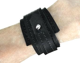 Leather cuffs for women - Goatskin wrap bracelet - Wedge cuff - Mens leather bracelet cuff - Tobacco tan  Black Chalk white  Chocolate brown