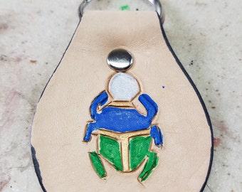Scarab Leather,key fob, green, blue, silver, gold