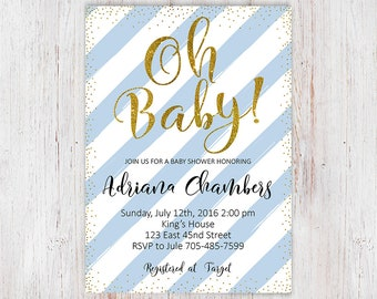 Oh Baby Shower Invite, Oh Boy Baby Shower Invitation, Baby Shower Invitation, Baby Boy Shower Invitation, Baby Shower Invitation Boy, 5x7 5