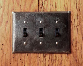Wall Plate - Fire Cooked Wrought Iron Triple Switch/Toggle Wall Plate