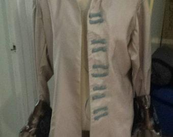 Men's court/ pirate jacket sz S beige and blue