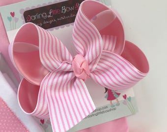 "Pink Striped Bow, pink and white striped 4-5"" hairbow"