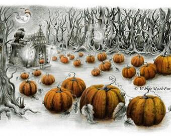 I love pumpkins - childrens book illustration - Halloween - Spooky woods - pumpkin mad - forest - fairytale