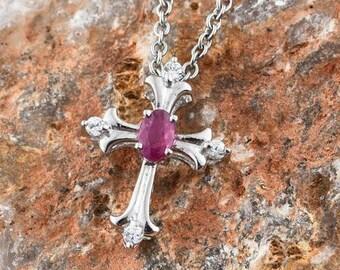Burmese Ruby Cross Pendent
