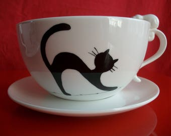 """Lunch with a """"cat stretching"""", porcelain, breakfast painted by hand, breakfast Bowl saucer, lunch teen adult"""
