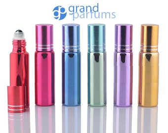 12 UPSCALE 10ml GLASS Essential Oil Glass Roll On Bottles Stainless Steel Roller (1/3 Oz) Fabulous Metallic Colors UV Coating  10 ml