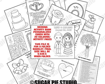 Wedding coloring activity book Printable Personalized Favor