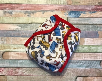 Construction Polyester PUL Cloth Diaper Cover With Aplix Hook & Loop Or Snaps You Pick Size XS/Newborn, Small, Medium, Large, OS