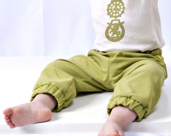 modern baby set - trousers & tank - pea green - 6-12mos/12-18mos/18-24mos - made in england