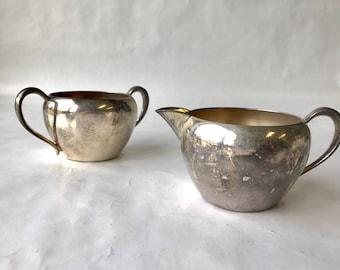 Vintage Silver on Copper Cream & Sugar Set