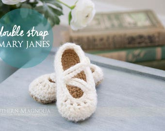 Double Strap Mary Janes - Crochet Shoes
