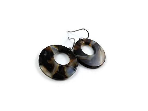 Brown hoops dangle earrings - Hypoallergenic pure titanium and resin earrings