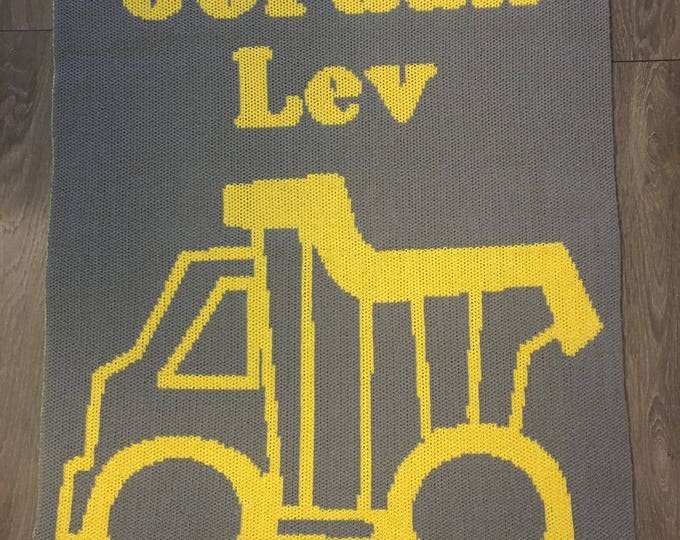 Construction Truck Custom Knit Baby & Stroller Blanket