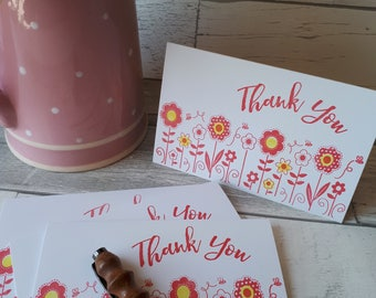 Thank You Cards -Garden Flowers - Assorted Colors and Quantities - Floral Hand Stamped Thank You Cards - Bridal Shower - Baby Shower