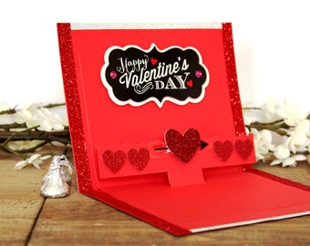 Handmade Pop Up Valentine's Day Card, Happy Valentine's Day, Hearts, Glitter, Embossing, Red White Black, One of a Kind, Blank Inside