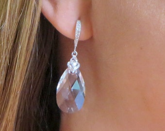 Clear Swarovski Crystal, White Gold PLated, Bridal Earrings, Brides Jewelry, Clear pear shape Crystal Earrings, Free U