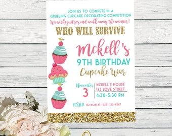 Cupcake War Decorating Competition - Personalized birthday invitation- Gold Glitter  ***Digital File*** (Cupcake-WarPnkTeal)