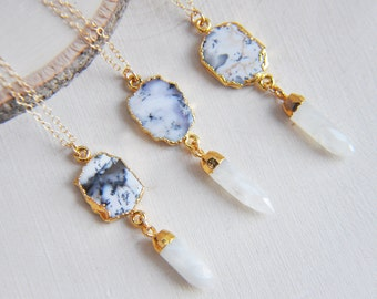 Dendritic Necklace, Dendritic Opal Necklace, Dendritic Agate Necklace, Dendritic Stone Necklace, Moonstone Necklace, 14k gold filled jewelry