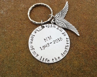 Memorial Keychain - remembrance tribute to loved one custom made angel wing
