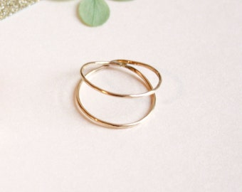 Hammered Double Ring - 14K Gold Filled or Sterling Silver - Simple, Modern, and Minimal Jewelry