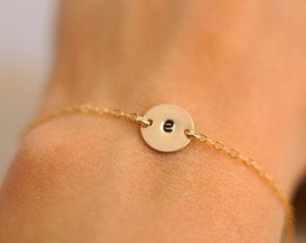 Gold Single Initial bracelet, Gold Filled, Rose Gold Filled, Silver, Personalized Bracelet, Initial Disc, Mother's Bracelet, Valentines Day