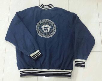 Vintage 90s Versace Jeans Couture jacket..Embroided Medusa Head..Big Logo..Size L