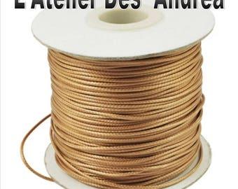 Golden beige waxed cord 1 mm, by 2 meters