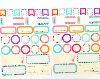 2 sheets of planner stickers with foil details | scrapbooking | diy | boho chic |feathers