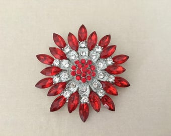 Red Crystal Brooch.Red Rhinestone Brooch.Red Silver Brooch.red Flower pin.Red Flower broach.vintage style.Christmas.Holiday.Poinsettia