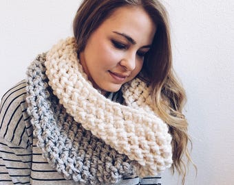 Infinity Cowl, Circle Scarf • Two-Tone in CREAM and GREY