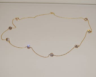 """14k Yellow Gold Faceted Clear Sparkle Bezel Set stones 17 1/2"""" Long Necklace."""