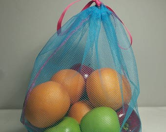 Single Reusable Produce Bag  (Select from S, M, L, XL) - Choose from 5 Mesh Colors-  Lime Green Ribbon and Thread- ECO Responsible Packaging