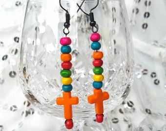Rainbow Rave Hippychic Fashion Earrings