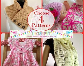 Knitting and Crochet PATTERN DISCOUNT - CHOOSE 4 - Your choice of 4 patterns Instant Download Step by Step instructions