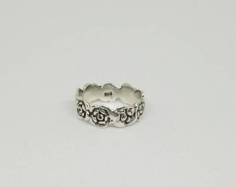 Sterling Silver Rose Ring : Size 4 1/2
