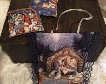 SET! CHRISTMAS NATIVITY 2 Drawer Sachets and 1 Hanging Sachet! cinnamon, clove, nutmeg, orange, berries, vanilla
