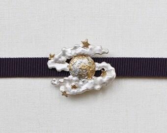 "OBIDOME  ""Moon Night"" Obi Brooch with Obijime cord Japanese kimono accessory tin casting"