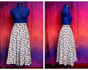 Vintage 90s Bohemian Boho Festival Summer Folk Floaty High Waisted A-Line Floral Print Midi Skirt Size Small UK 8 10