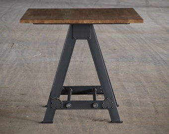 Industrial A frame Table Kitchen Island Oak top