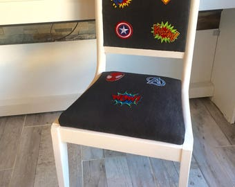 Chair desk, jeans, comics, Comics, white, Super Hero Marvel, urban, Shabby