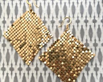Metal Mesh Earrings, Metallic Gold Earrings, Disco Earrings