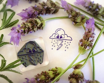 Rain Cloud Stamp ~ weather rubber stamp, raindrop, storm, thunder, lightening bolt, season, planner, emoji, face, eyes, diary, mailart