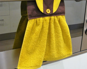 Hanging Hand Towel - brown and yellow football inspired Hawthorn inspired gift