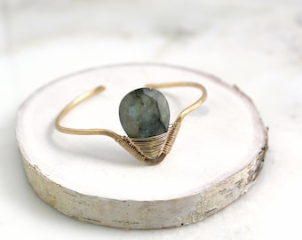 Elenna Bracelet, labradorite, gold, hand forged and wire wrapped bracelet cuff